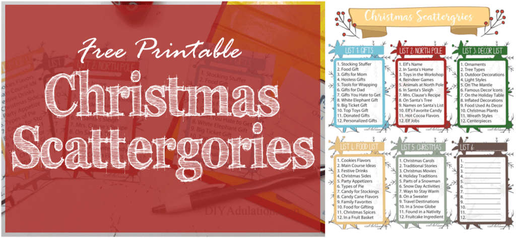 Christmas Scattergories sheet with text overlay - Free Printable Christmas Scattergories