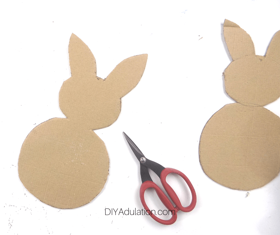 2 Bunnies Cut Out of Cardboard