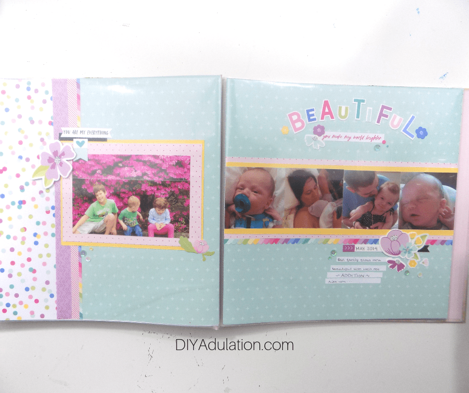 2 Page Beautiful Title Scrapbook Layout