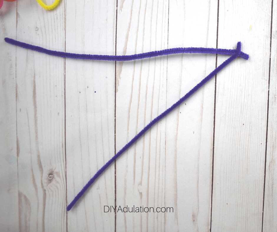 2 Purple Pipe Cleaners with Ends twisted together