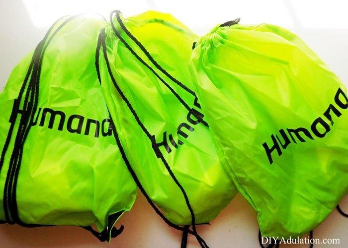 3 Green Drawstring Bags