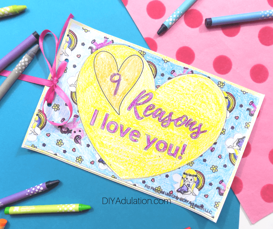 9 Reasons I Love You Valentine Book Next to Crayons