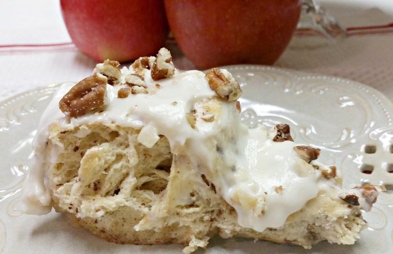 Slice of apple cinnamon roll cake