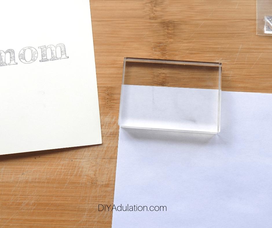 Acrylic Block on Scrap Paper
