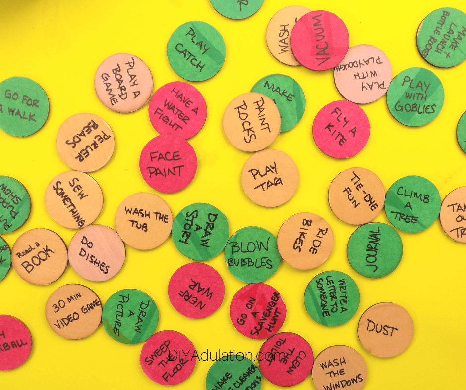 Activities Written on Colorful Discs