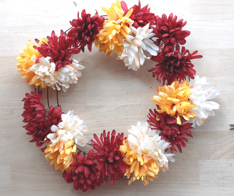 Additional Red Mums on Wire Wreath Form