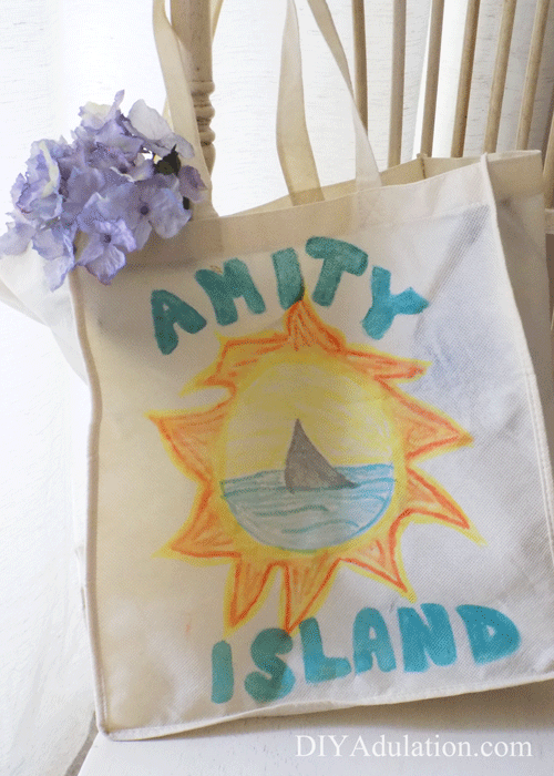 Amity Island Tote Bag with Flowers on Chair