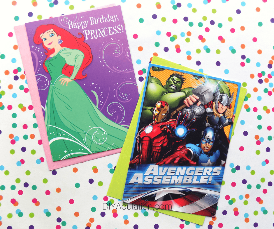 Ariel and Avengers Birthday Cards on Polka Dot Background