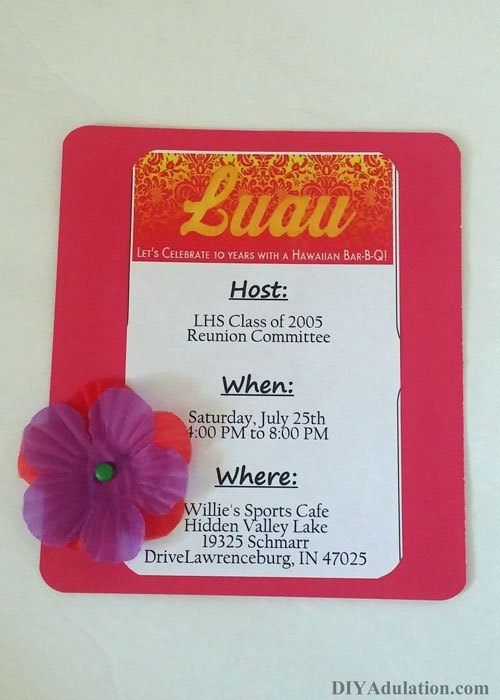 Flower attached to bottom corner of luau invitation