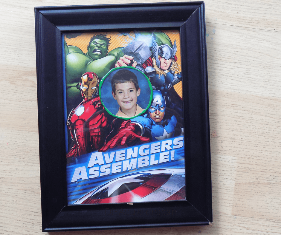 Avengers Birthday Card Photo Frame inside of Frame