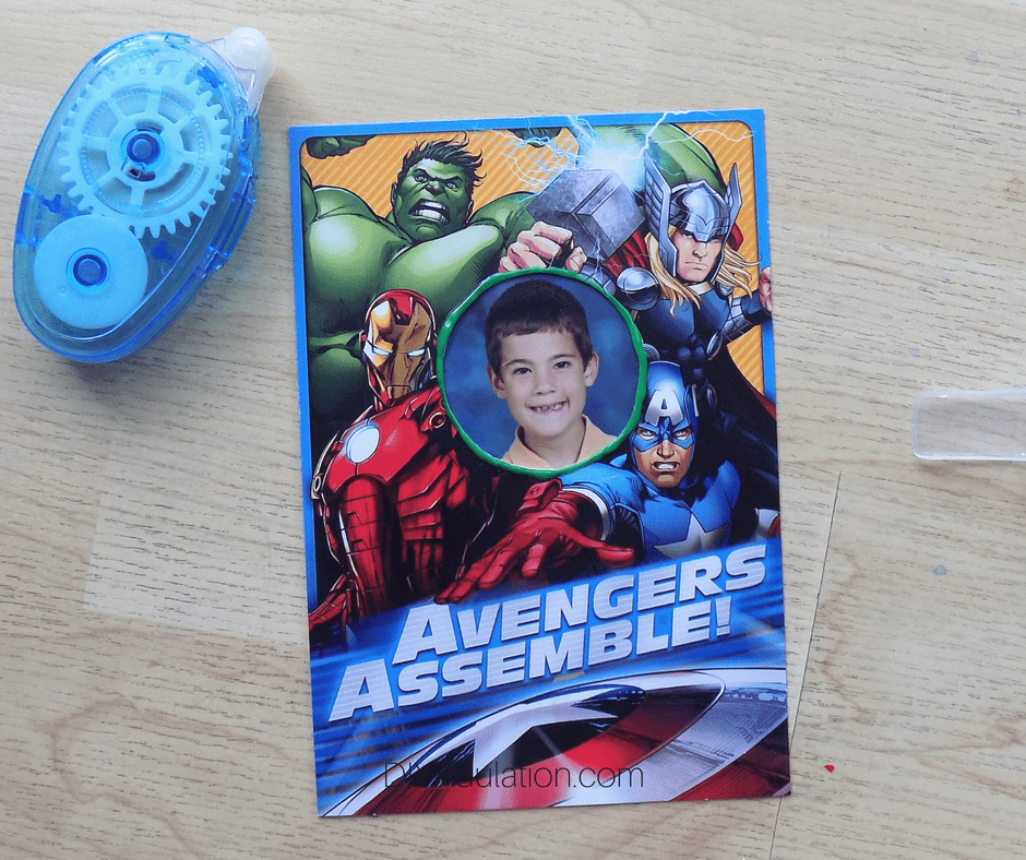 Avengers Card Photo Frame next to Glue Runner