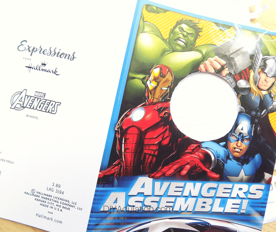 Avengers Card with Circle Cut Out on Scrap Paper