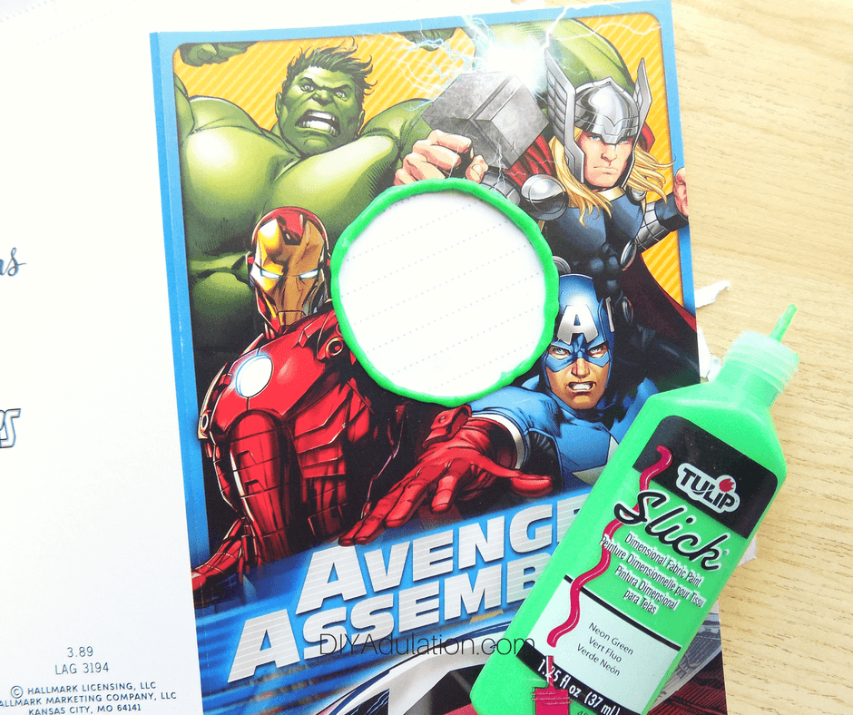 Avengers Card with Green Puff Paint Next to It