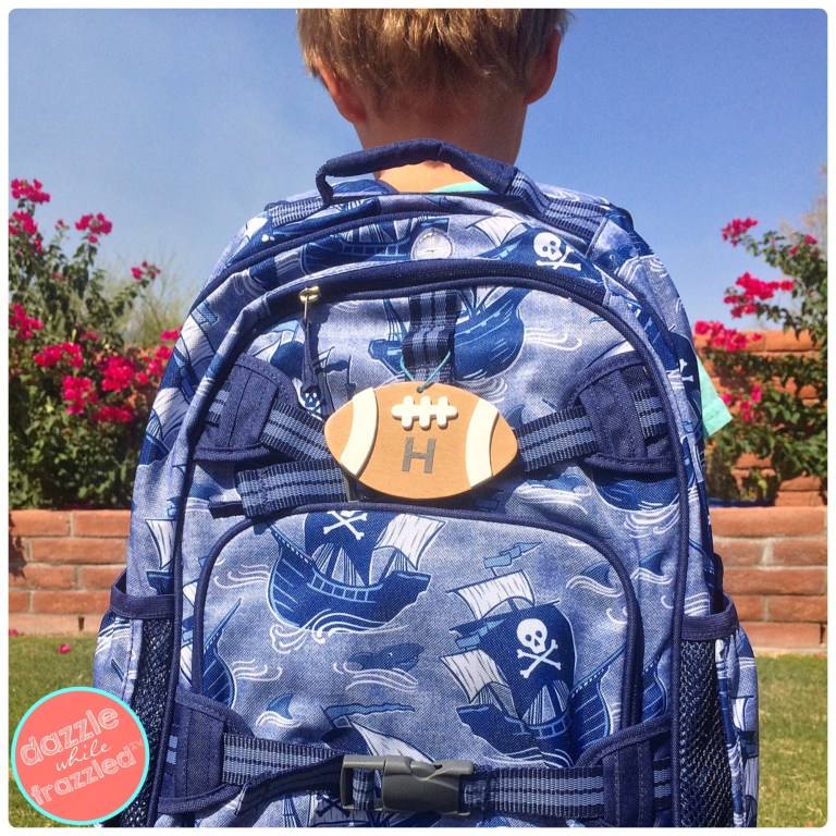 Football backpack tag on school bag