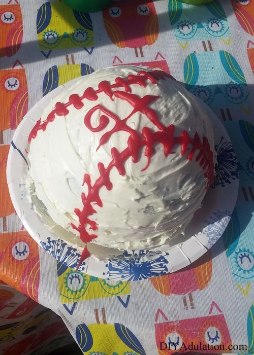 Round Baseball Cake with H on it