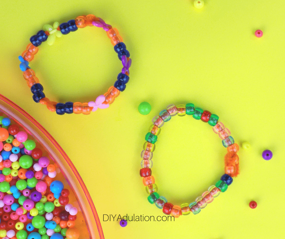 Beaded Pipe Cleaner Bracelets Next to Beads