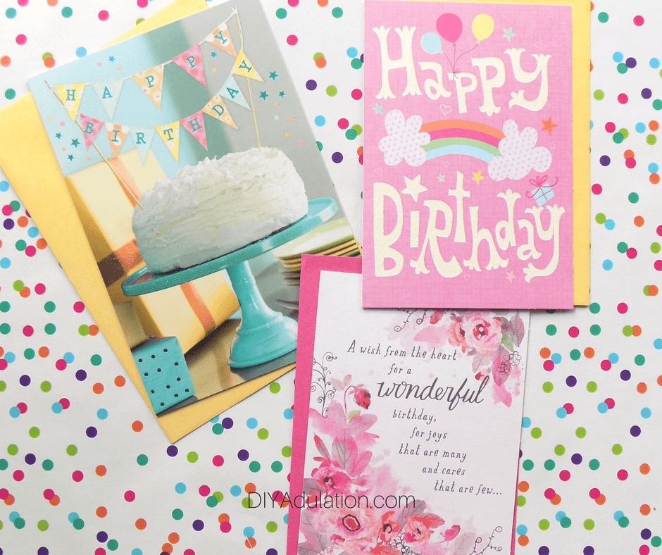 Birthday Cards and Envelopes on Polka Dot Background