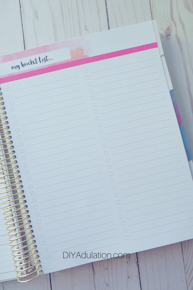 Blank Bucket List Page in Goal Getter Planner