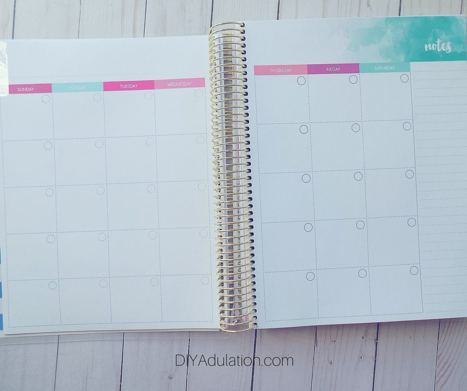 Blank Monthly Pages of Goal Getter Planner