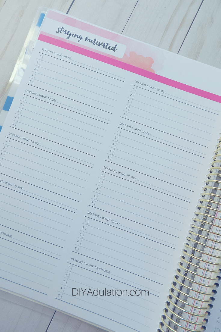 Blank Staying Motivated Page in Goal Getter Planner
