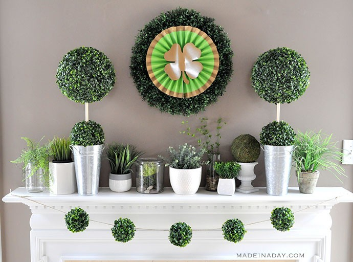 Boxwood St. Patrick's Day mantle