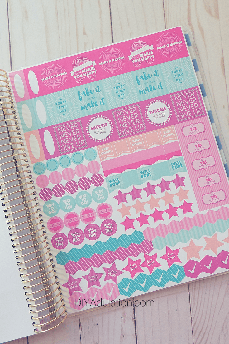 Bonus Stickers Page in Goal Getter Planner