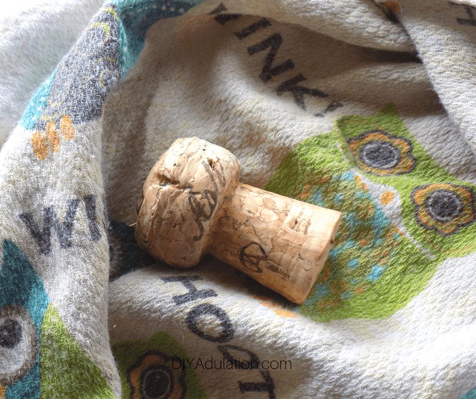 Bottle Cork in Towel