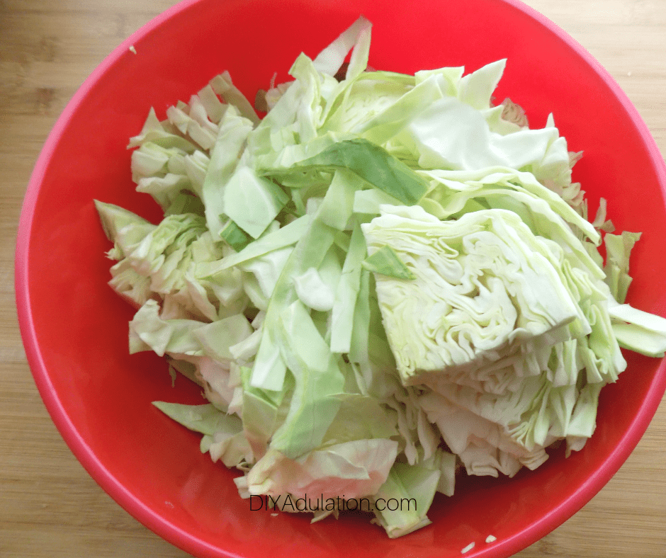 Bowl of Sliced Cabbage