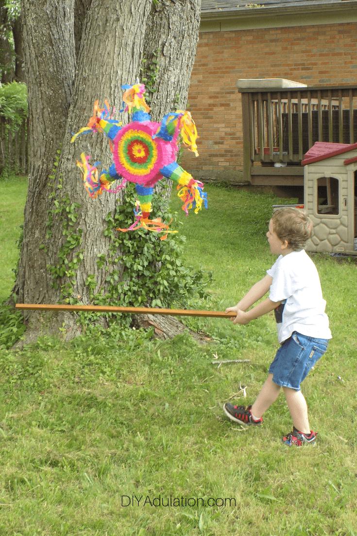 Boy Swinging at Pinata