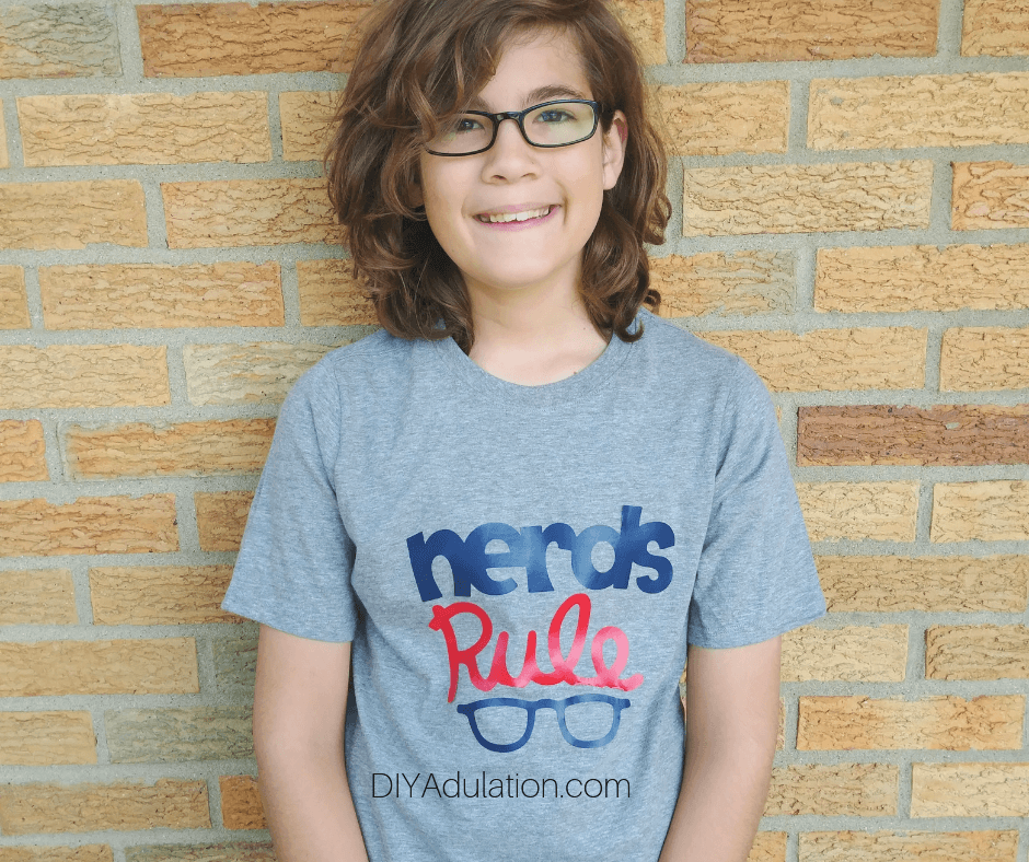 Boy Wearing Nerds Rule T-Shirt