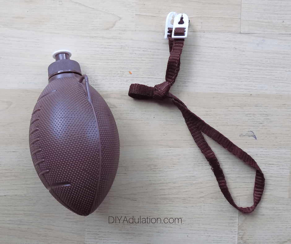 Brown Football Water Bottle with Strap Remove