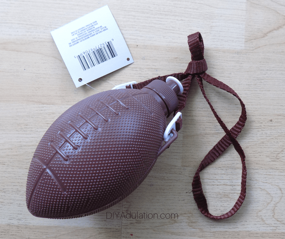 Brown Football Water Bottle with Tag