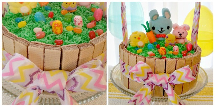 collage of photos of Easter basket cake