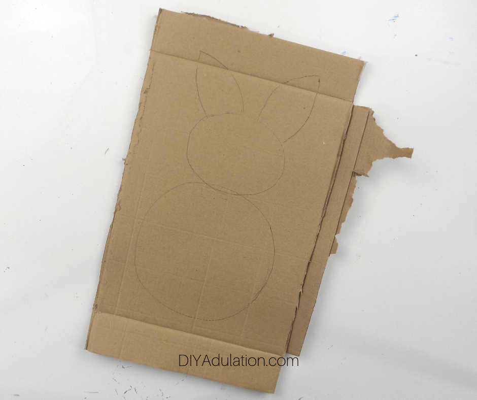 Bunny Outline Drawn on Cardboard