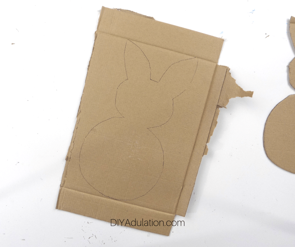 Bunny Traced on Piece of Cardboard