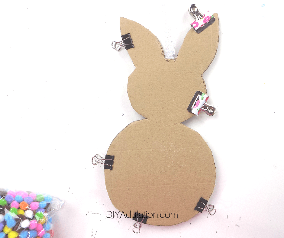 Cardboard Bunny Clipped with Binder Clips