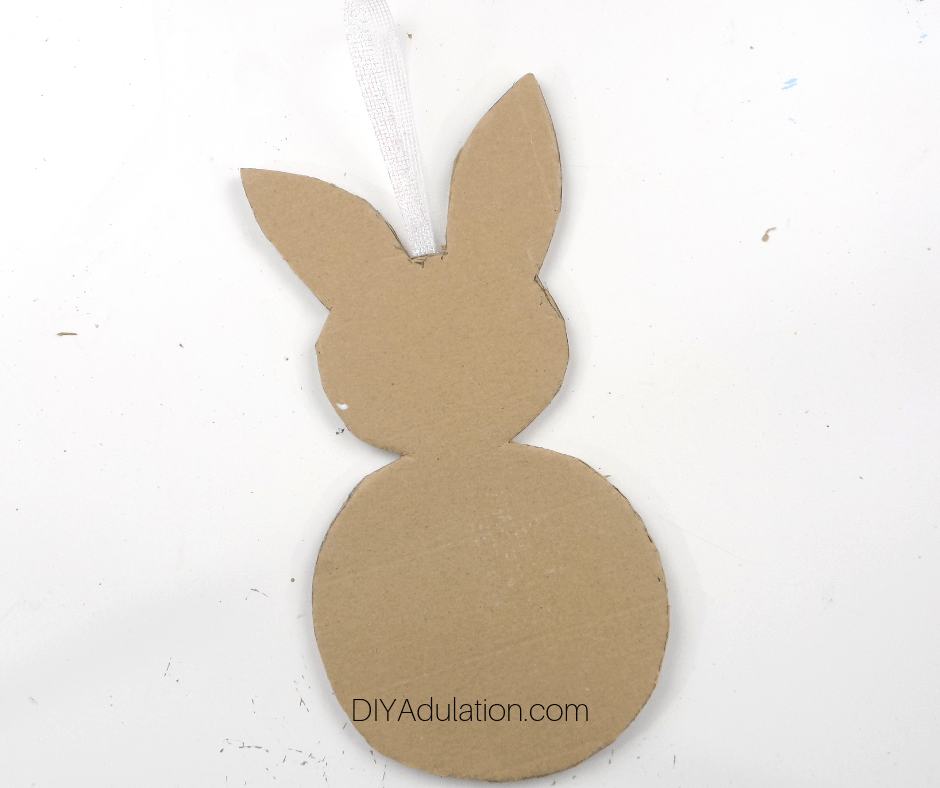 Cardboard Bunny with Ribbon Hanger