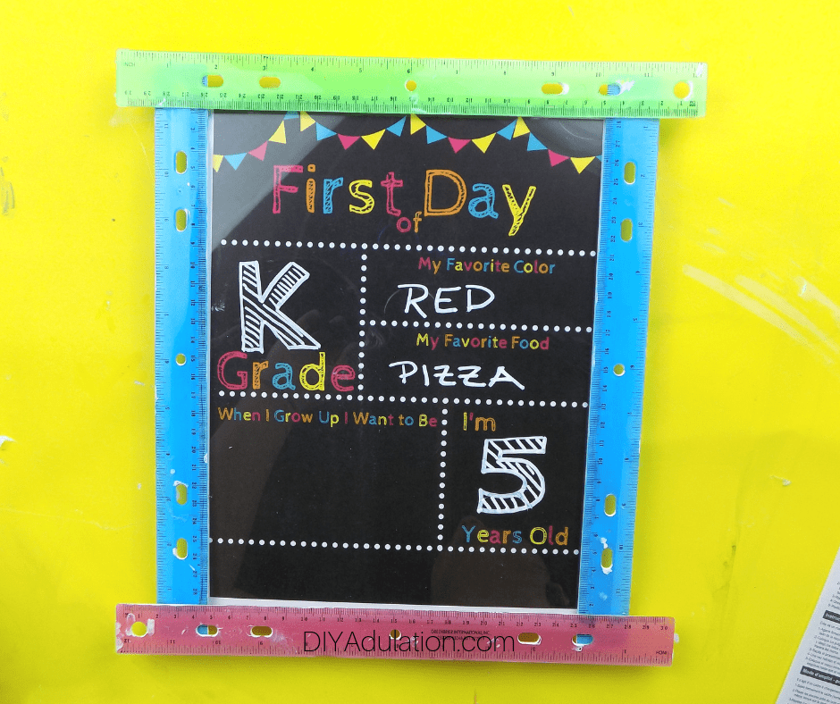 Chalk Writing on First Day of School Sign
