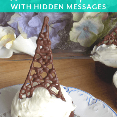 Chocolate Eiffel Tower Cupcakes with Hidden Messages