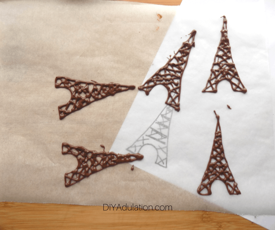 Chocolate Eiffel Towers on Parchment Paper