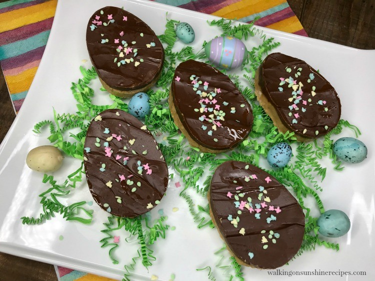 chocolate covered peanut butter eggs on plate