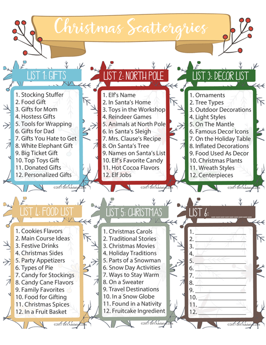 Printable Christmas Scattergories Sheet