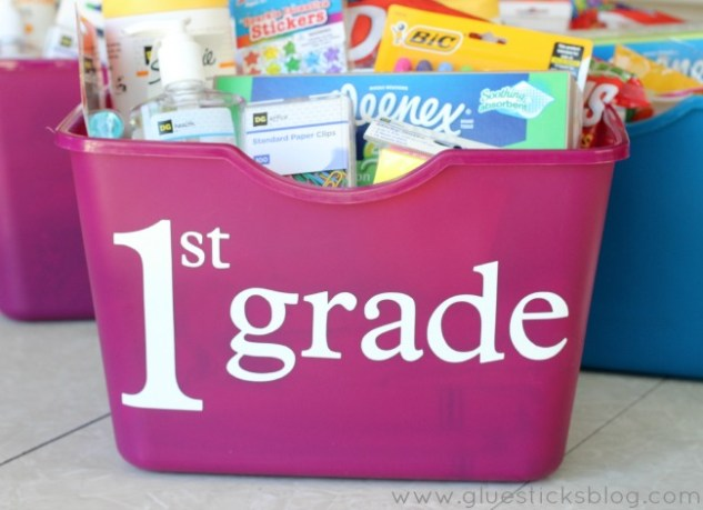 Pink 1st Grade tote full of school supplies
