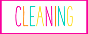 Pink and White Box with the word Cleaning inside