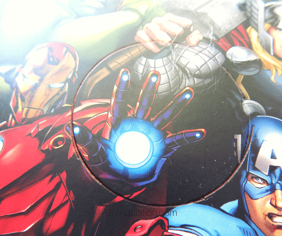 Close Up of Circle Drawn on Avengers Card