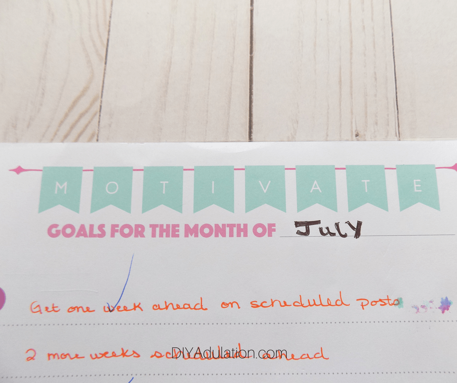 Close Up of Filled Out Monthly Goals Page of Planner