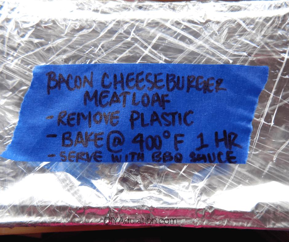 Close Up of Label on Freezer Meatloaf