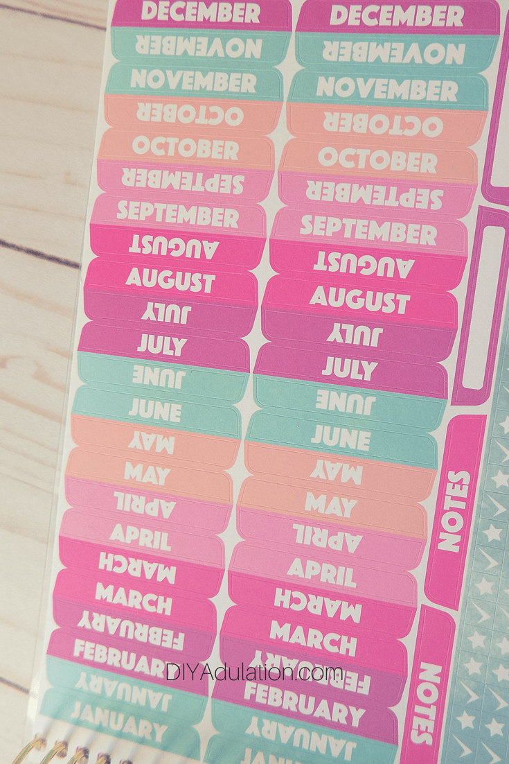 Close Up of Monthly Tab Stickers Page in Goal Getter Planner
