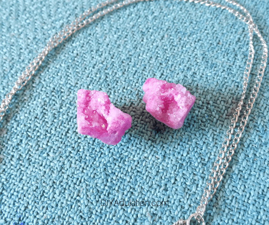 Close Up of Pink Druzy Earrings