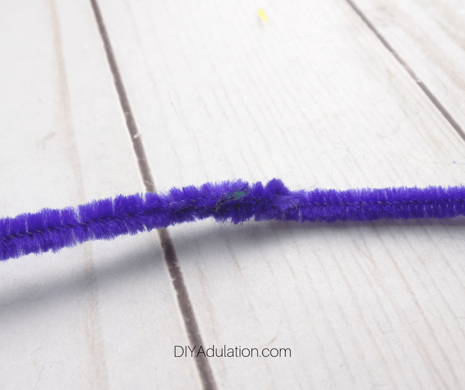 Close Up of Secured Ends of Purple Pipe Cleaners